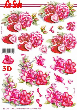 Roses & Love Hearts 3d Decoupage Sheet